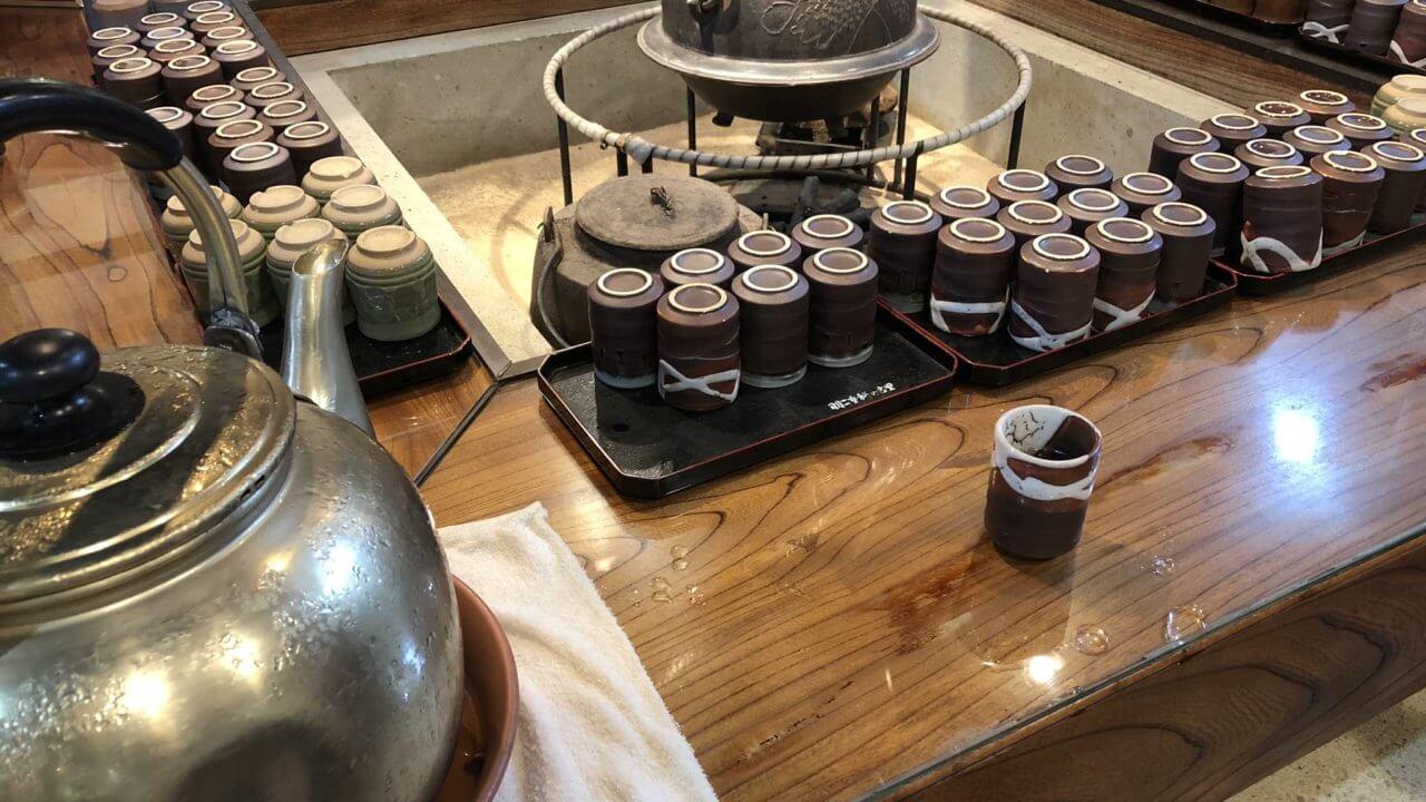 羽二重餅の古里のお茶のサービス